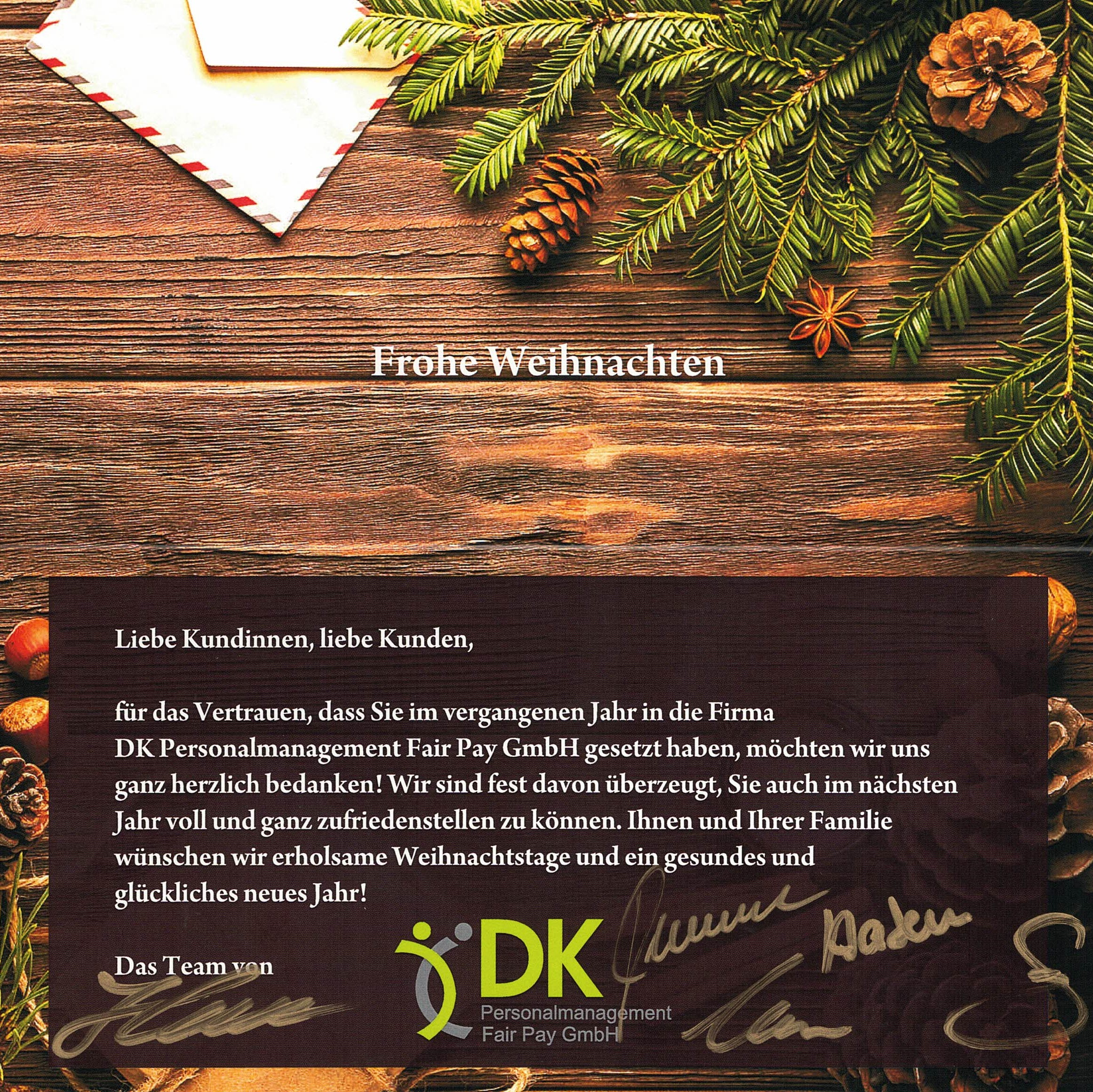 Weihnachtsgrüße Arbeitgeber.Weihnachtsgrüße Dk Personalmanagement Fair Pay Gmbh